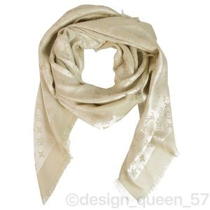 Louis Vuitton monogram Shine White and gold shawl